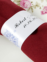 Personalized Paper Napkin Ring - Heart Design (Set of 50)