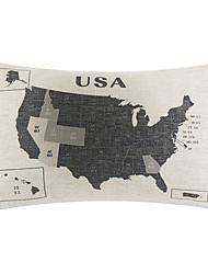 Print USA Map Decorative Pillow Cover
