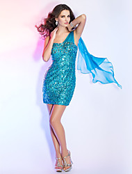 TS Couture® Cocktail Party / Holiday Dress - Pool Plus Sizes / Petite Sheath/Column One Shoulder Short/Mini Sequined