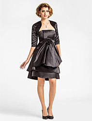 A-line Plus Sizes / Petite Mother of the Bride Dress - Black Knee-length Half Sleeve Satin