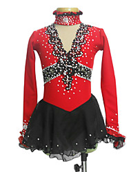 Dumb Light Spandex Elasticated Net Silk Flowers V-Neck Figure Skating Clothing Red