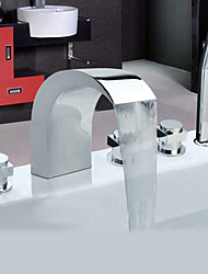 Contemporary Tub And Shower Widespread / Handshower Included with  Ceramic Valve Three Handles Five Holes for  Chrome , Bathtub Faucet