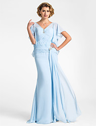 Lanting Trumpet/Mermaid Plus Sizes / Petite Mother of the Bride Dress - Sky Blue Floor-length Short Sleeve Chiffon