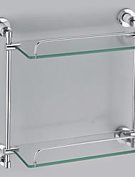 Acabado en cromo Contemporary Style Brass Wall Mounted Shelf doble vidrio Capas