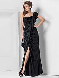 Formal Evening / Military Ball Dress - Black Plus Sizes / Petite Sheath/Column One Shoulder Floor-length Jersey