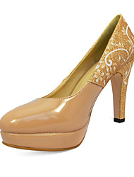Elegante couro Stiletto Heel Bombas com handmade Pintura partido / Evening Shoes