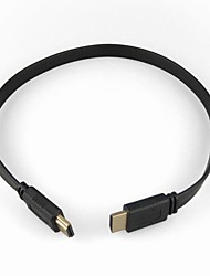 Versión HDMI 1.4 Cable plano para Samsung SONY Smart LED HDTV, Apple TV, DVD y Blu-Ray, PS2 / 3 y más (1,5 m, Negro)