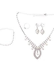 Silver Pearl plaqué entièrement ornée de bijoux Bague Boucle d'oreille Collier et Bracelet Set Bijoux