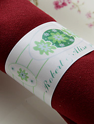 Personalized Paper Napkin Ring - Green Flower (Set of 50)