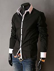 Men's Shirt Collar Contrast Color Casual Long Sleeve Shirt