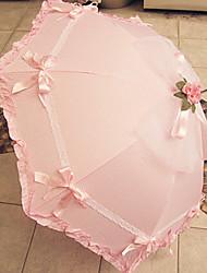 Rosa Ruffled da guarnição Umbrella Lolita doce com laço e Bow