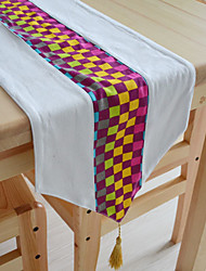 Colorful Runner Plaid Table Coton