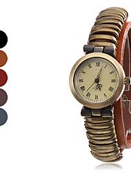 Mujeres de cuero reloj de pulsera de cuarzo analógico (colores surtidos)