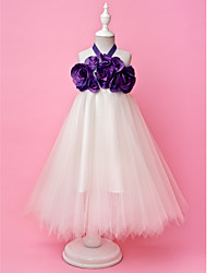 A-line Princess Floor-length Flower Girl Dress - Taffeta Tulle Halter with Draping Flower(s)