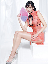 Lace-trim Fit Slim Cut Out cheongsam con Panty (Vita Panty :60-96cm, busto: 70cm, vita :76-96 centimetri)