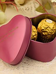 24 Pièce / Set Titulaire de Faveur-Forme de Coeur Etain Boîtes à cadeaux Cannette de cadeau Personnalisé
