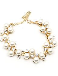 Diamond & Pearl Bracelet plaqué or clouté