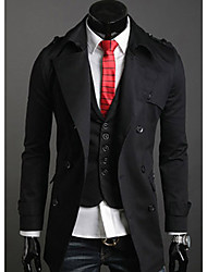 Men's Solid Casual Trench coat Long Sleeve-Black / Beige / Tan