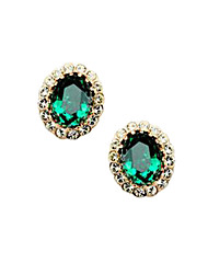 Fashionable Set Auger Green Crystal Alloy 18K Gold Plated Earring