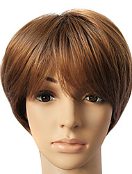 Venta caliente Brown sintético corta peluca de pelo recto