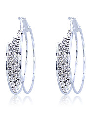 5cm Diameter Double-deck Zircon Hoop Earrings