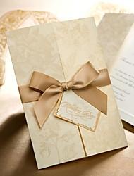 Gold Floral Style Tri-folded Wedding Invitation (Set of 50)