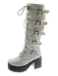 Handgemaakte witte PU leer 8cm High Heel Punk Lolita Boots