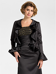 Wedding  Wraps Coats/Jackets Long Sleeve Satin Black Wedding / Party/Evening Bell Open Front