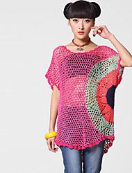 LIEBO Femmes Shirt manches courtes Crochet