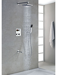 Chrome Finish LED Digital Display Shower Faucet with 8 inch Square Showerhead + Handshower