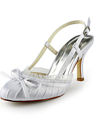 Spring / Summer / Fall Satin / Stretch Satin Wedding Stiletto Heel Buckle Black / Ivory / White / Champagne