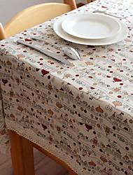 Building Pattern Linen / Cotton Blend Table Cloth