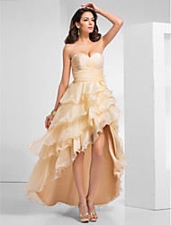 Um querido Line organza assimétrico vestido de noite / baile de finalistas