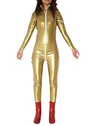 Oro Shiny Metallic Zipper Chiusura PVC Catsuit
