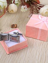 padrino de boda regalo de gemelos de plata personalizados con diamantes de imitación