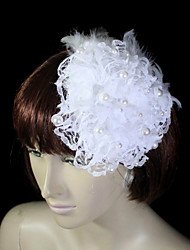 Pluma preciosa con perla de imitación / Lace Tocados de boda
