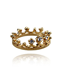 Charming Alloy Crown Design Crystal Ring