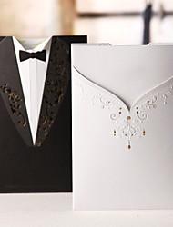 convite de casamento vestido de smoking clássico e no lado diferente (conjunto de 50)