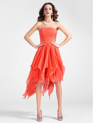 A-Line Princess Strapless Knee Length Asymmetrical Chiffon Cocktail Party Dress with Draping Ruching Cascading Ruffles by TS Couture®