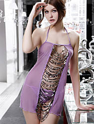 Ultra Sexy Babydoll de malla de lentejuelas (Busto :66-88cm Cintura :72-94cm Hip :88-96cm Cintura Panty :54-100cm)