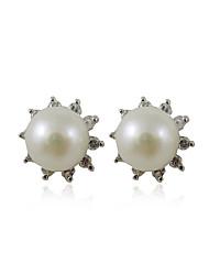 Gorgeous 925 Sterling Silver Pearl Stud Earrings
