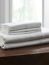 "Simple&Opulence® Sheet Set, 100% Linen Solid White Up to 15"" Deep"