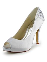 Muito cetim stiletto peep toe com strass / Ruched Wedding Shoes (mais cores)