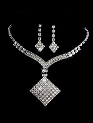 Amazing With Rhinestones Wedding Bridal Jewelry Set Including Necklace And Earrings
