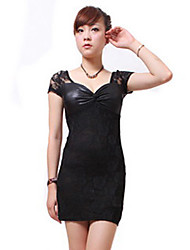 ZHI YUAN V Neck Pure Color Slim Short Sleeve Dress