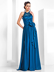 Formal Evening/Military Ball Dress - Ink Blue Plus Sizes Sheath/Column Halter Floor-length Chiffon/Lace