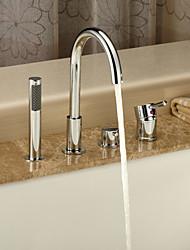 Acabamento cromado Duas alças generalizada Com Faucet de bronze Handled Tub Shower Head