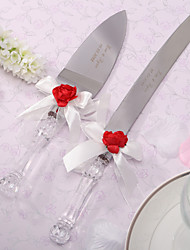 Serving Sets Wedding Cake Knife Personalized Red Rose & White Satin  Cake Serving Set