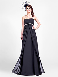 Lanting Floor-length Chiffon Bridesmaid Dress - Black Plus Sizes / Petite Sheath/Column Strapless