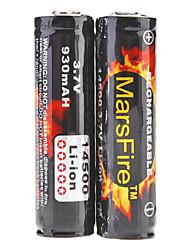 MarsFire 14500 Protegidas 3.7V 930mAh recarregável Li-ion (2 pacotes)